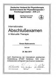 Goran Radovanovic Zertifikat OMT - Therapeut